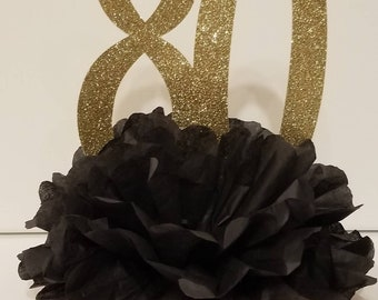 80th 100th Birthday Party Glitter Centerpiece Black Gold You choose colors and number Table decor 30th 40th 50th 60th