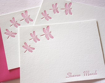 Personalized Letterpress Stationery Dragonfly Pink Fuchsia