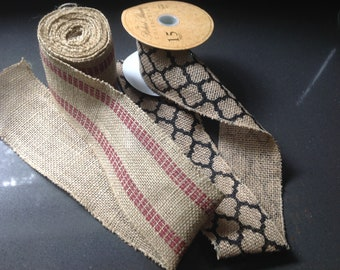 "burlap ribbon wired, 145"" and 55"""