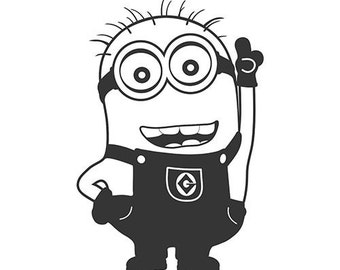 DIY Minion Vinyl Decal, Despicable Me, Cartoon Character, Tom Minion, Car Window Decal, Laptop Decal, Tablet Decal, Drinkware Decal