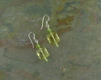 CITRINE & PERIDOT Gemstone Earrings Sterling Silver Natural Stone