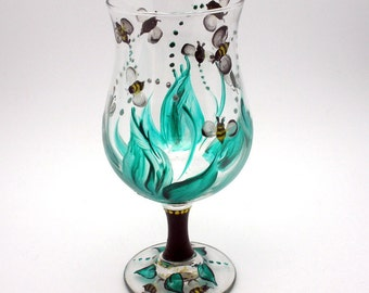 Fun wine glass of flying Hand painted bees - holds 16 oz - Original Creation - one only