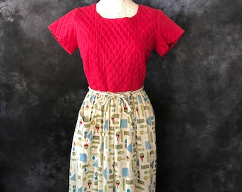 """Vintage 1950's novelty print Swirl dress quilted bodice French foods 27"""" waist"""
