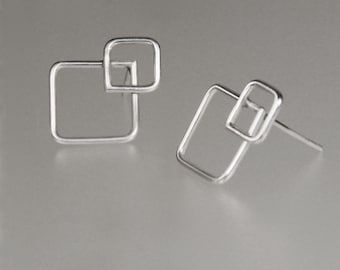 Sterling silver rhythmic square stud earrings gifts Free US Shipping handmade Anni Designs