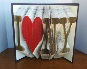 I heart NY - Folded Book Art - Fully Customizable, New York