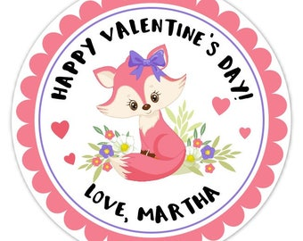 Baby Fox Valentine's Day Stickers, 2.5 inch round