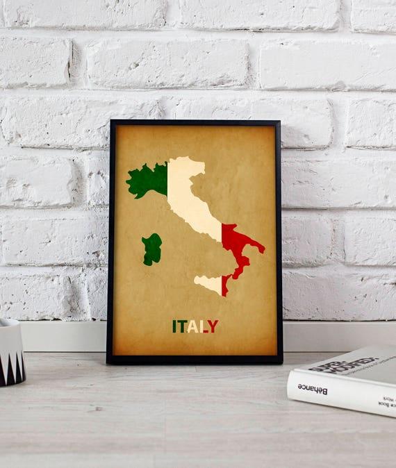 Italy poster Italy art Italy Map poster Italy print wall art