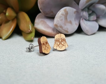 Star Wars Darth Vader Earrings - Laser Engraved on Alder Wood - Hypoallergenic Titanium Post Earrings