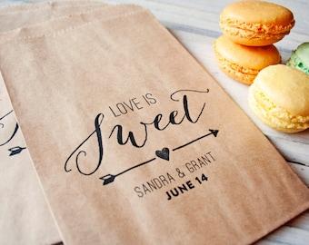 Wedding Favor Bag - Candy Favor Bags - Candy Buffet Bags - Sweet Arrow Design - Personalized Wedding Favor Bag - Flat Kraft Bags - 20 Bags
