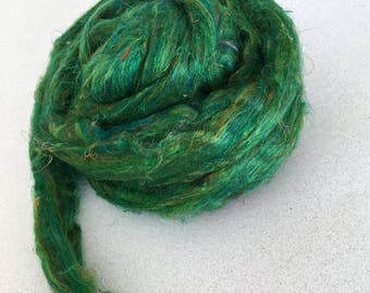 Sari Silk Carded/Combed Sliver Roving Green 1 Ounce