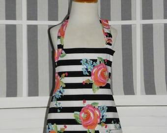 Kate Watercolor Roses & Stripes Girls Kitchen Apron - FREE or PRIORITY Shipping
