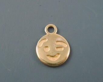 ON SALE Flirty Wink Emoticon Charm, 10MM Two Sided Wink Charm, Gold Plated Brass (emoji)
