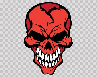 Stickers Decal Red Skull With White Teeth Store Smile 05766
