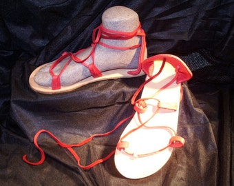 BELLA CARIBE RED on Oak-Tan Lace Up Sandals