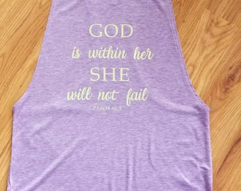 God is within her she will not fail tank. Purple tank with light green design. Perfect for workouts and comfy days. Available in white.