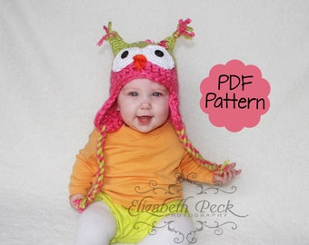 Little Owlet -- Owl Hat Crochet Pattern --  Sell what you make -- Sizes Newborn to Adult  INSTANT DOWNLOAD