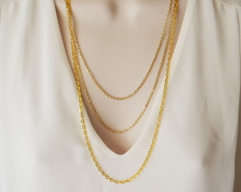 Layering Necklace, Multi strand Necklace, Gold Necklace, Layered Necklace, Long Necklace.
