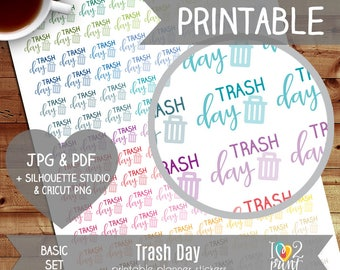 Trash Day Printable Planner Stickers, Erin Condren Planner Stickers, EC Printable Stickers, Functional Trash Day Stickers - CUT FILES