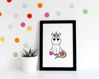 Unicorn Illustration - Unicorn Art Print - Unicorn Wall Hanging - Unicorn Cartoon - Digital Art Print - Digital Unicorn Art - Unicorn Decor