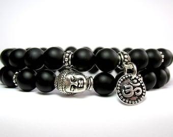 Mens Buddha Bracelet, Mens Om Bracelet, Mens Beaded Bracelet, Bracelet Stack, Mens Jewelry, Stretch Bracelet, Yoga Bracelet