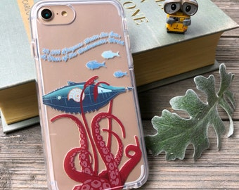 20,000 Leagues Under the Sea Phone Case for iPhone 5, SE, 6, 6 Plus, 7, 7Plus, 8, 8 Plus and X. TPU or Wood Options
