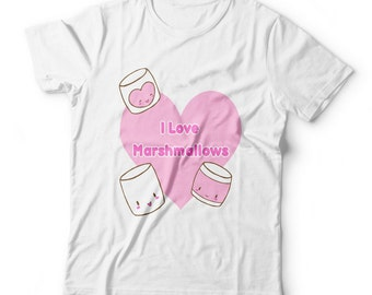 I love marshmallows tshirt sweets with faces kawaii fairy kei pop tee top chibi candy