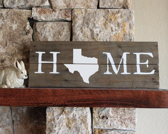 Texas HOME Sign, Reclaimed Wood Sign, TX Sign, Texas Artwork, Rustic Texas Sign, Wooden Texas, Wood Texas Sign, Texas Wall Art, Texas Plaque