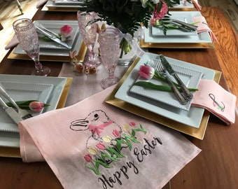 """Linen Easter Table Runner - Rabbit Bunny in wreath of spring flowers - Embroidered on fine Aqua Robins Egg Blue linen - 12"""" x 60 """""""