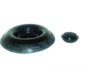 Rare Paden City Black Forest Ebony Console Bowl Rolled Edge