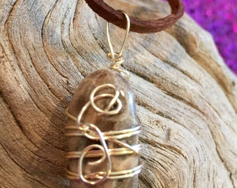 Wire Wrapped Petoskey Stone Pendant