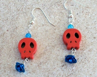 SKULL Earrings Red Tiny Flat with Turquoise Blue Aluminum Flower Dangles Earrings