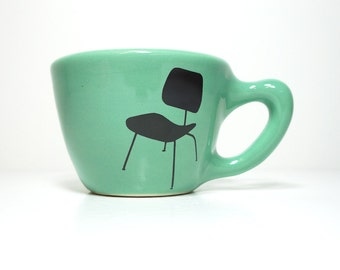 12oz cup with an Eames Chair print, shown here on blue green glaze - Made to Order / Pick Your Colour / Pick Your Size