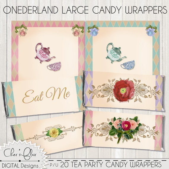 Wonderland candy wrappers tea party candy wrappers onederland wonderland candy wrappers tea party candy wrappers onederland birthday invitation 1st birthday tea party alice in wonderland from digitalpackages on filmwisefo
