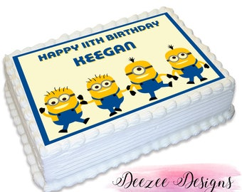 Minion Personalised A4 Edible Icing Cake Topper