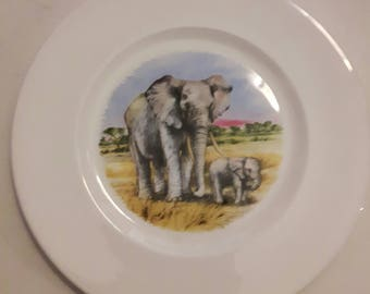 """Large Decorative Plate 11"""" Endangered Species """"African Elephant"""" by Country Studio"""