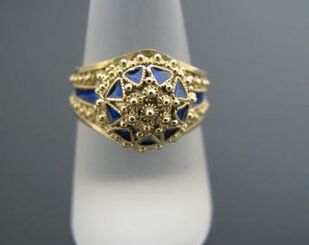 c643 Unique and Regal Domed 21k Yellow Gold and Blue Enamel Ring