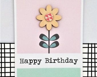 Birthday Card - Handmade Card - Happy Birthday - Flower