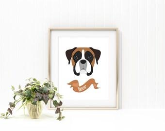 Boxer dog print/ dog print/ pet print/ pet name print/custom pet print/ custom dog print/custom pet name art