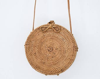 Round Rattan Bag Leather Crossbody Personalized Hand-bag Floral Pompom Customised Personalised Circle Travel Holiday Luxury Ata Brown Ribbon