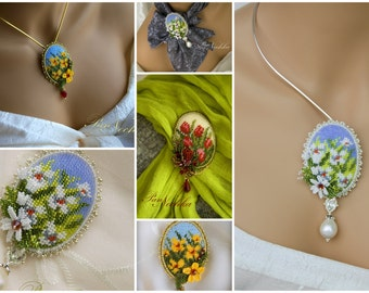 Floral Brooches, camomile, tulips and more