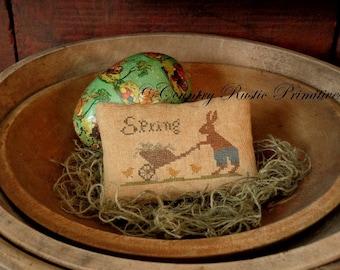 Primitive Spring Rabbit & Cart Pillow Tuck Cross Stitch E Pattern PDF- New Pattern