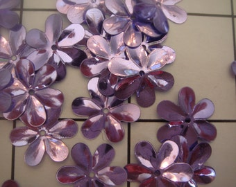 "1/2"" Lavender Purple  Irridescent Flower Sew on Sequins 75 pc Bag (A-81)"