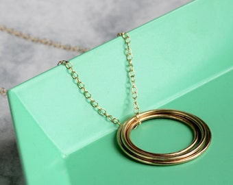 Concentric Circle Long Necklace | 14k Gold Fill Circle Necklace | simple gold necklace | long necklace | layering necklace | mother's day