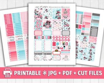 CHRISTMAS RUSH Printable Planner Stickers/for use with Erin Condren/Weekly Kit/Silhouette Cutfiles/Winter White Christmas