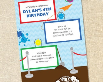 Sweet Wishes Children's Museum Dinosaur Birthday Party Invitations - PRINTED - Digital File Also Available