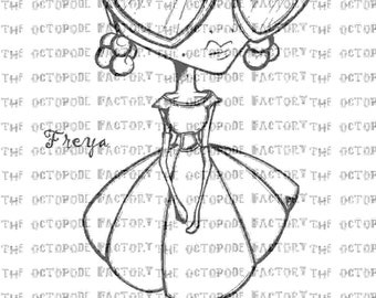 INSTANT DOWNLOAD Freya the Valentine Girl digital stamp image