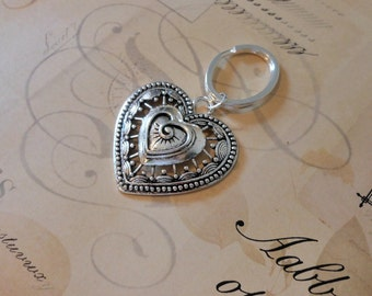Large Heart Key Chain.  You won't loose this one!  Silver Filigree Heart on oval key ring.