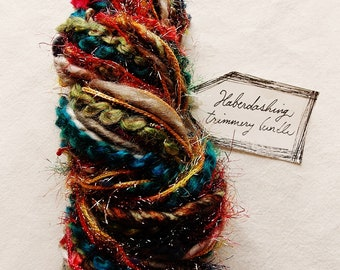 Folk Festival olive teal red orange jewel toned tinsel trim Novelty Fiber Yarn Sampler Bundle