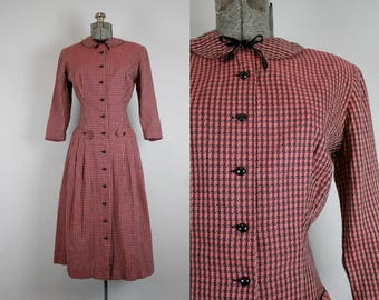 1950's Red and Black Plaid New Look Dress / Size Medium