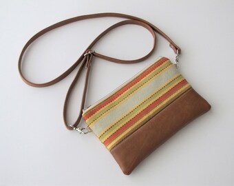 Crossbody Bag, Crossbody Clutch, Vegan Crossbody Purse, Clip on Crossbody Strap,Crossbody Wallet, Striped Crossbody Bag